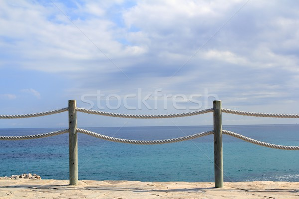 banister railing on marine rope and wood Stock photo © lunamarina
