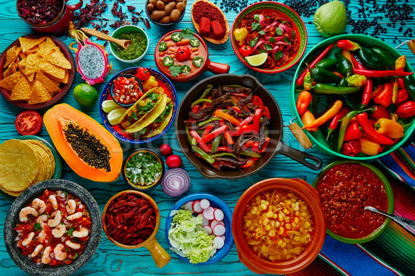 Mexican food mix colorful background Stock photo © lunamarina