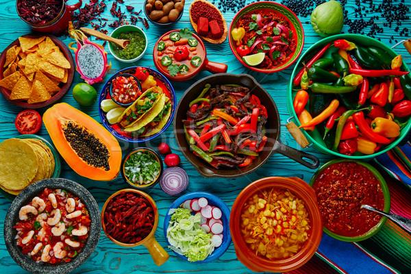 Mexikói étel keverék színes Mexikó étel fa Stock fotó © lunamarina