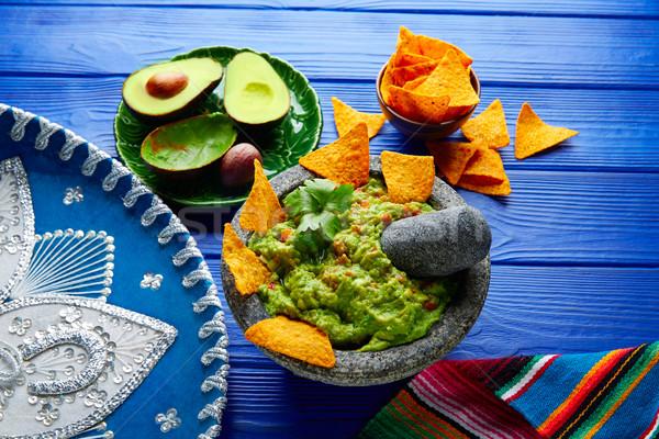 Nachos mexican avocat sombrero chapeau alimentaire Photo stock © lunamarina