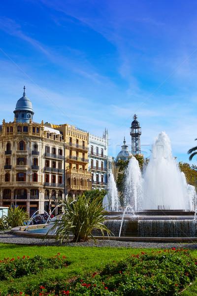 Valencia város tér szökőkút Spanyolország utca Stock fotó © lunamarina