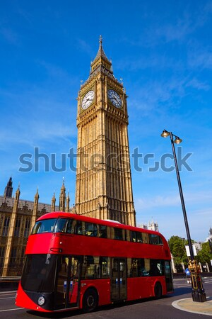 Big Ben relógio torre Londres ônibus inglaterra Foto stock © lunamarina