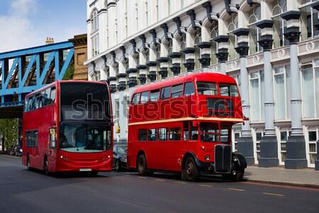 London pénzügyi negyed utca tér busz Anglia Stock fotó © lunamarina