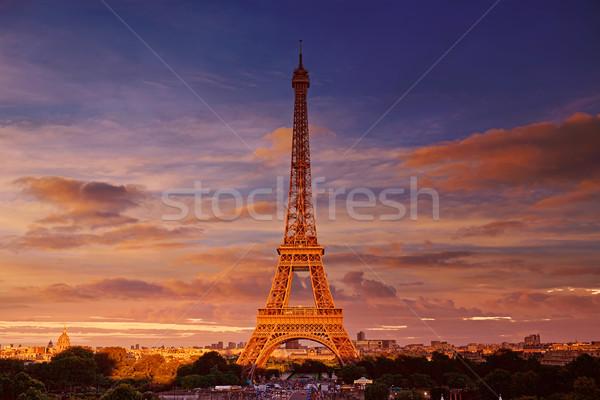 Сток-фото: Эйфелева · башня · закат · Париж · Франция · небе · здании