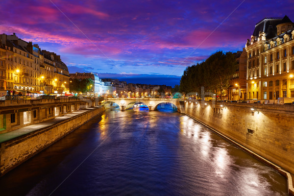 Paris Seine river sunset in France Saint Michel Stock photo © lunamarina