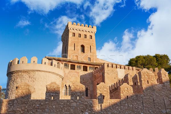 Kastély Valencia Spanyolország égbolt fal kék Stock fotó © lunamarina