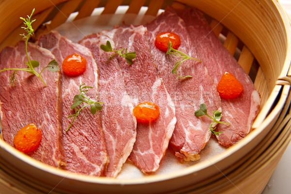 Carne de porco presunto molho receita fundo prato Foto stock © lunamarina