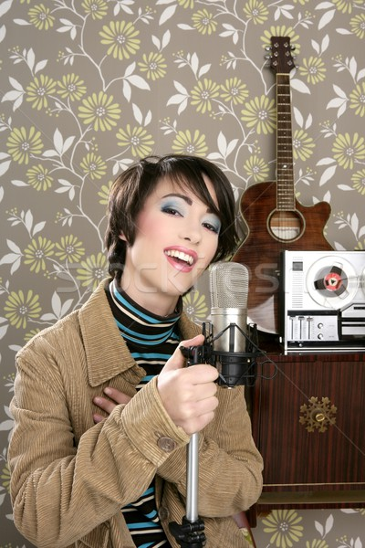retro 60s singer woman microphone guitar reel tape Stock photo © lunamarina