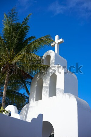 Playa del Carmen white Mexican church archs belfry Stock photo © lunamarina