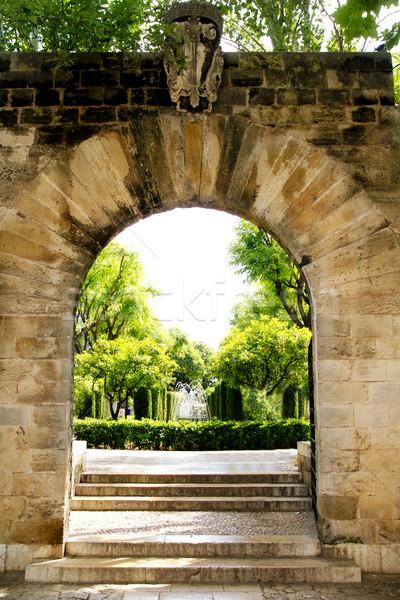 Arch entrance Hort del Rei gardens Palma de Mallorca Stock photo © lunamarina