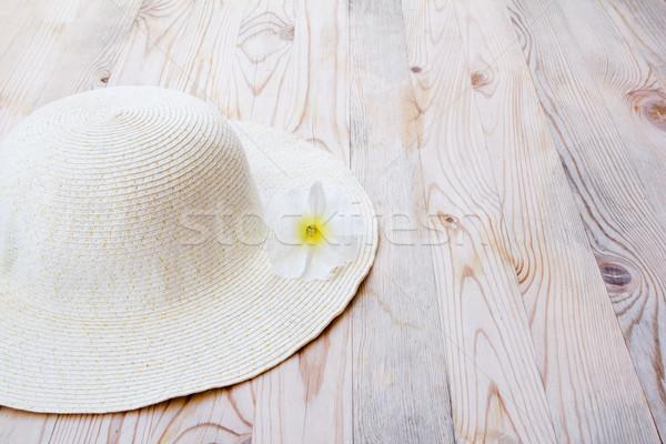beach hat with white flower Stock photo © lunamarina