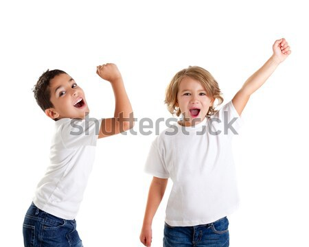 excited children kids happy screaming and winner gesture express Stock photo © lunamarina