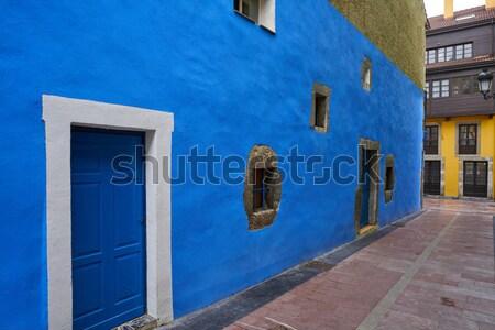 Azul porta lava pedra alvenaria parede Foto stock © lunamarina