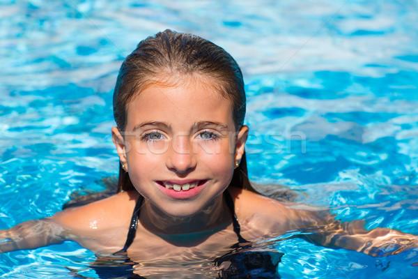 Kid meisje zwembad gezicht wateroppervlak Stockfoto © lunamarina
