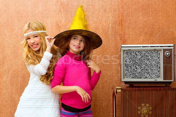 çocuklar 70s iki çocuk arkadaş kızlar Stok fotoğraf © lunamarina