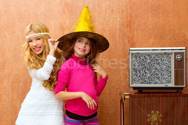 children 70s two kid friend girls in retro party Stock photo © lunamarina