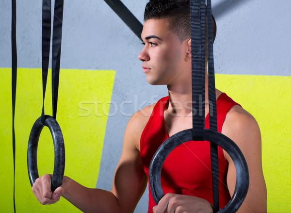 Crossfit dip ring young manman relaxed after workout Stock photo © lunamarina