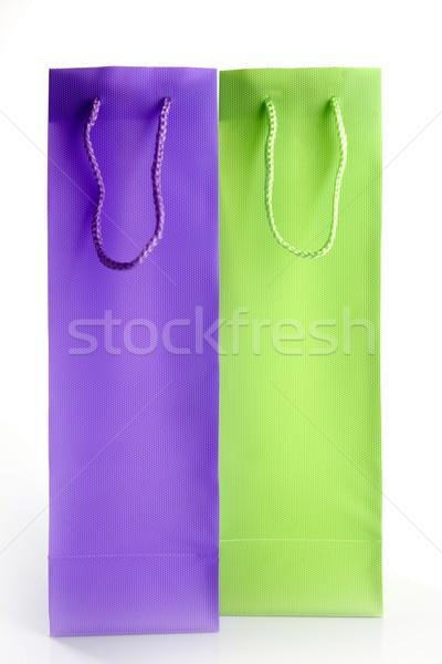 two tall shopping bangs, purple and green Stock photo © lunamarina