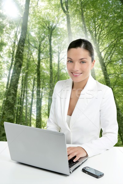 Stock photo: Beautiful headset woman in an forest