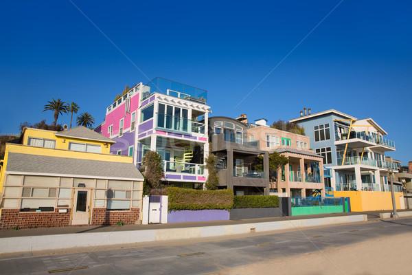 Californië strand kleurrijk huizen USA Stockfoto © lunamarina