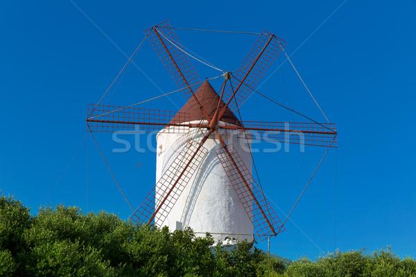 Menorca Es Mercadal windmill on blue sky at Balearics Stock photo © lunamarina