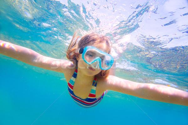 Snorkeling szőke gyerek lány vízalatti védőszemüveg Stock fotó © lunamarina