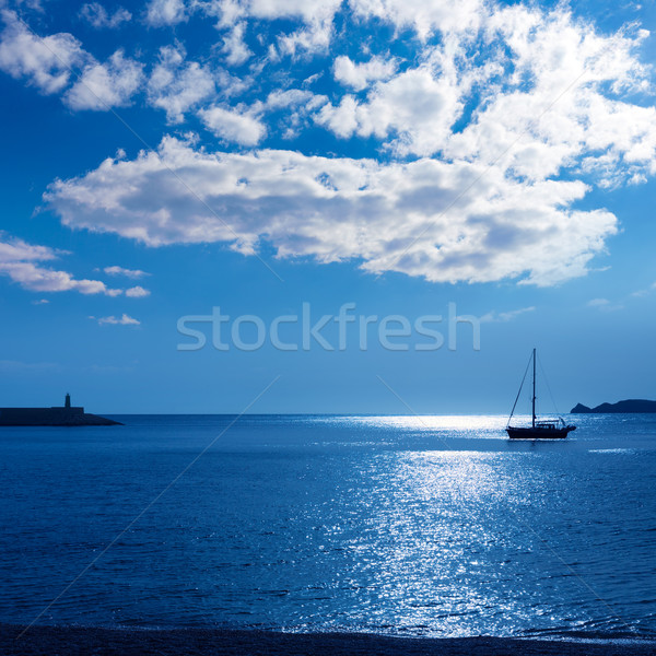Javea Xabia morning light sailboat in Alicante Stock photo © lunamarina