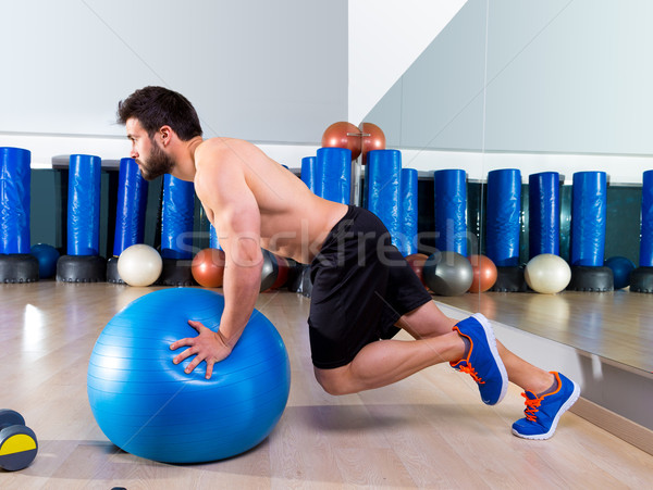 Fitball abdominal push ups Swiss ball Stock photo © lunamarina