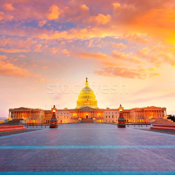Foto stock: Edifício · Washington · DC · pôr · do · sol · congresso · EUA · casa