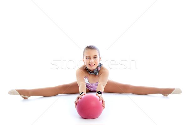 Kid meisje bal ritmisch gymnastiek oefening Stockfoto © lunamarina