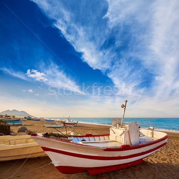 Almeria Cabo de Gata San Miguel beach boats Stock photo © lunamarina