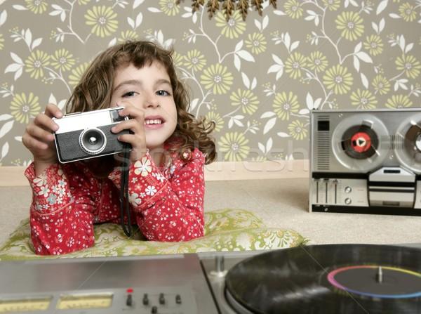 camera retro photo little girl in vintage room Stock photo © lunamarina