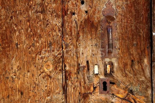 Ahşap kapı grunge texture paslı işlemek Stok fotoğraf © lunamarina