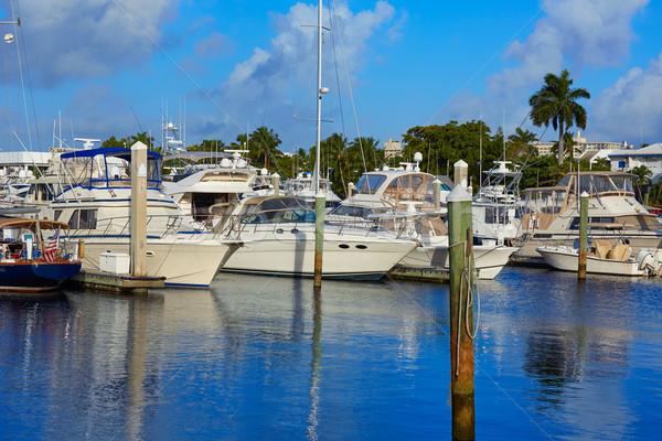 Fort Lauderdale marina hajók Florida USA tengerpart Stock fotó © lunamarina