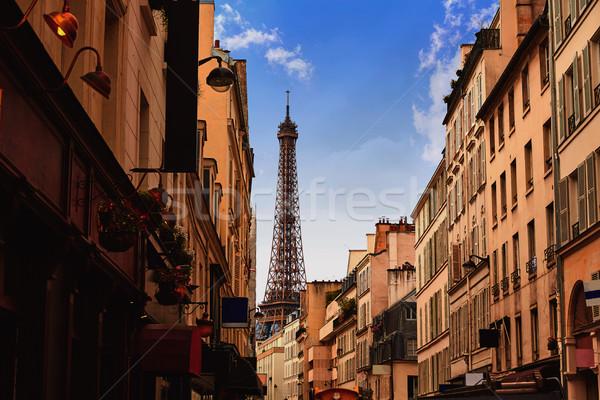 Torre Eiffel Paris França edifício cidade pôr do sol Foto stock © lunamarina