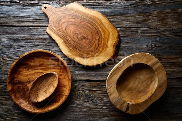 木製 台所用品 木材 ボード プレート ボウル ストックフォト © lunamarina