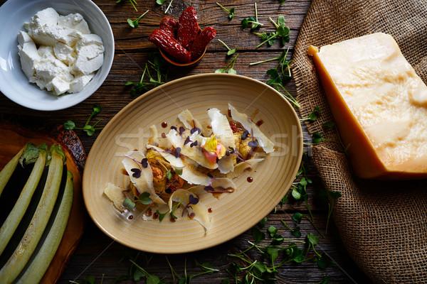 Stok fotoğraf: Patlıcan · peynir · İtalyan · gıda · ahşap · masa · akşam · yemeği