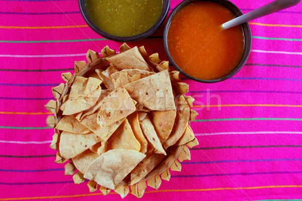 Nachos totopos with chili sauce Mexican food Stock photo © lunamarina