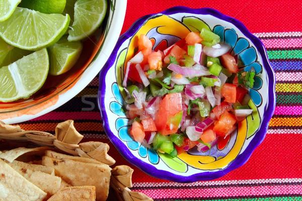 Pico de gallo tomato and chili Mexican sauce Stock photo © lunamarina