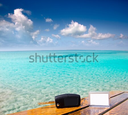 boat outboard stern with prop wash caribbean foam Stock photo © lunamarina