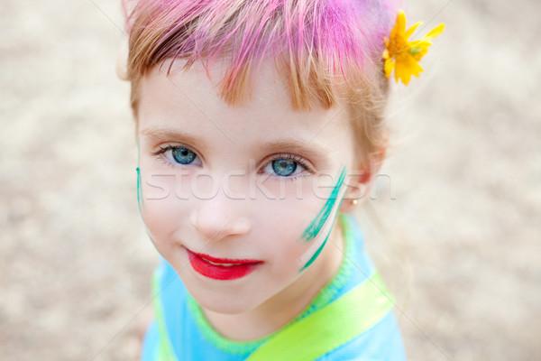 Olhos azuis crianças menina cara make-up pintado Foto stock © lunamarina
