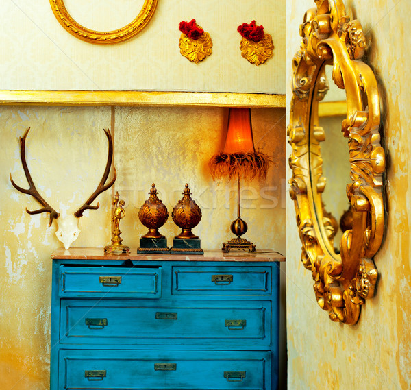 Barroco grunge vintage casa azul cajón Foto stock © lunamarina