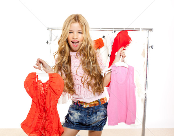fashion victim kid girl at backstage wardrobe Stock photo © lunamarina