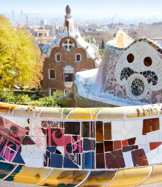 Barcelona park Guell fairy tail mosaic house Stock photo © lunamarina