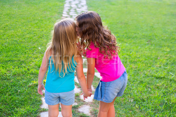 friends sister girls whispering secret in ear in garden Stock photo © lunamarina