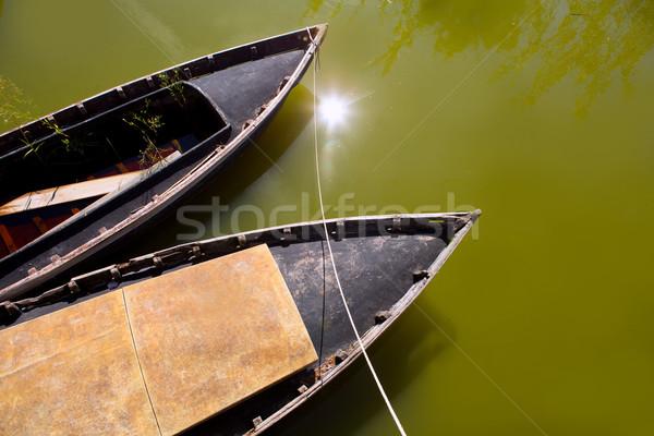 Canal barcos Valencia España agua madera Foto stock © lunamarina
