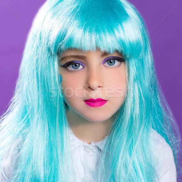 çocuklar kız mavi uzun peruk turkuaz Stok fotoğraf © lunamarina
