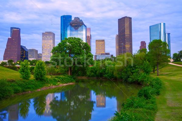 Houston Teksas modern ufuk çizgisi park nehir Stok fotoğraf © lunamarina