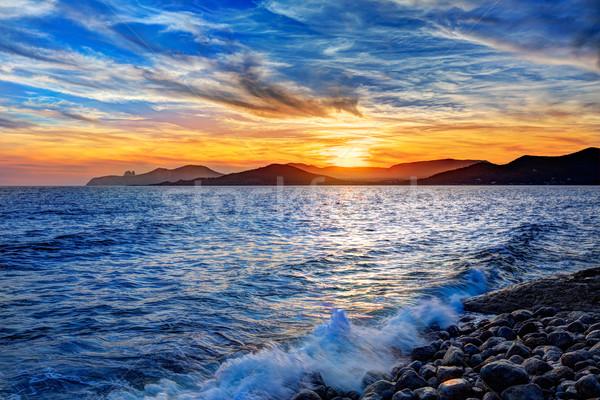 Ibiza Cap des Falco beach sunset Es Vedra in San Jose Stock photo © lunamarina