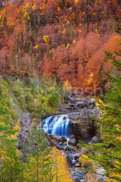 Cascada de Arripas waterfall in Ordesa valley Pyrenees Huesca Stock photo © lunamarina